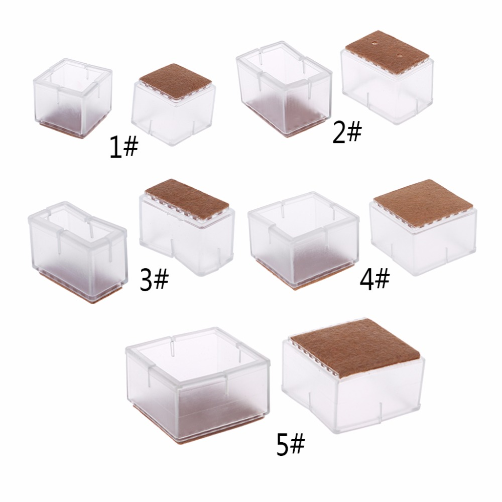 Home Improvement Just 8pcs Square Silicone Chair Leg Caps Feet Pads Furniture Table Covers Wood Floor Protectors Transparent New Sale Price Furniture Cups