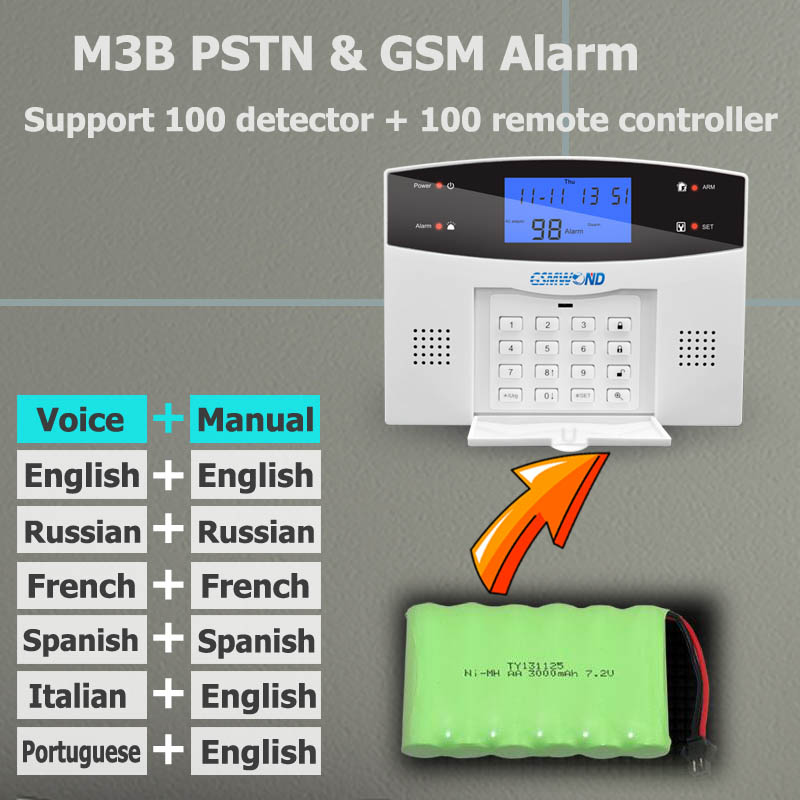 Image 3 - Home Burglar Security PSTN & GSM Alarm System 850/900/1800/1900 Wireless Signaling English / Russian / Spanish / French/Italian-in Alarm System Kits from Security & Protection