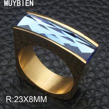 MUYBIEN Punk Wide Shell Stainless Steel Ring Gold and Sliver Ringwith Round Tiny AAA Cubic Zirconia Stone Jewelry RBJKAEBE