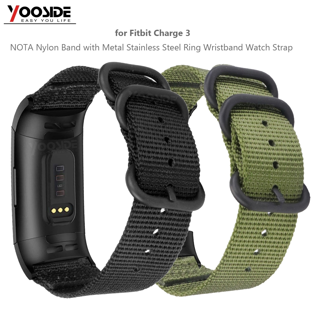 For Fitbit Cost three Nota Woven Nylon Strap Band With Stainless Metal Ring Adjustable Sport Strap Wristband For Fitbit Cost 3Se