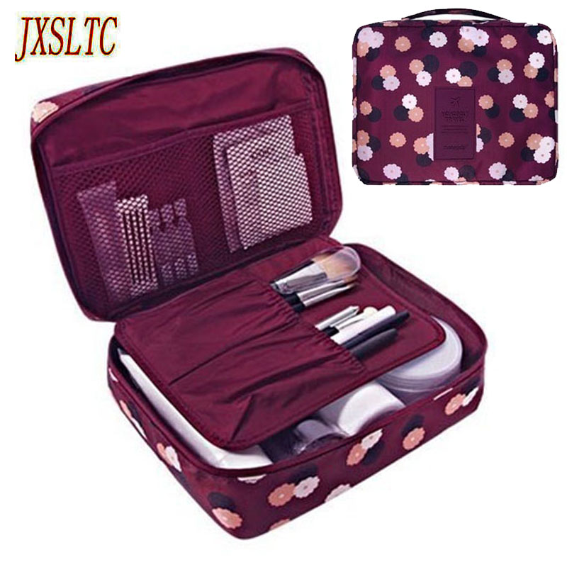 Women Cosmetic Bag Makeup Bag Case Make Up Organizer Toiletry Storage Neceser Rushed Floral Nylon Zipper New Travel Wash Pouch