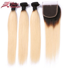 Köp 3 Bundlar Få 1 stängning Dream Beauty Ombre Blond 1b / 613 Remy Hair Brazilian Straight Hair 3 Bundlar Med 4x4 Spets Closure