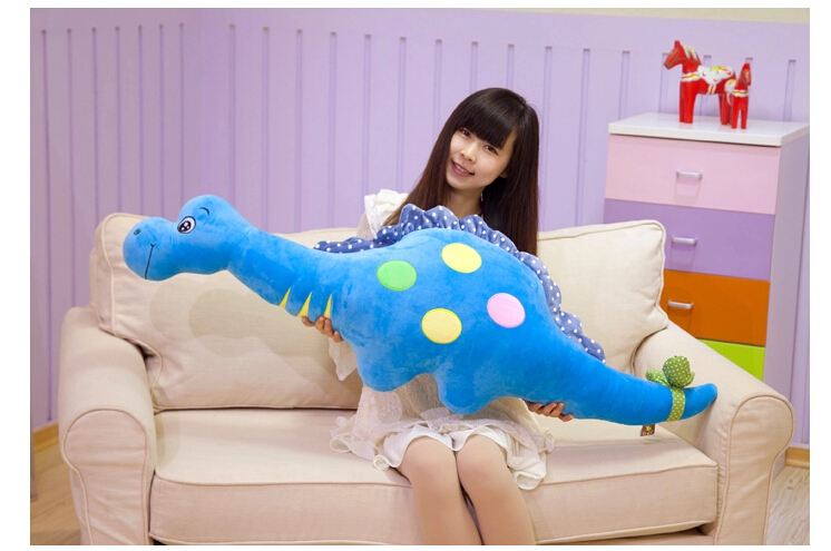 ФОТО huge blue lovely plush dinosaur toy big new creative dinosaur pillow doll gift about 135cm