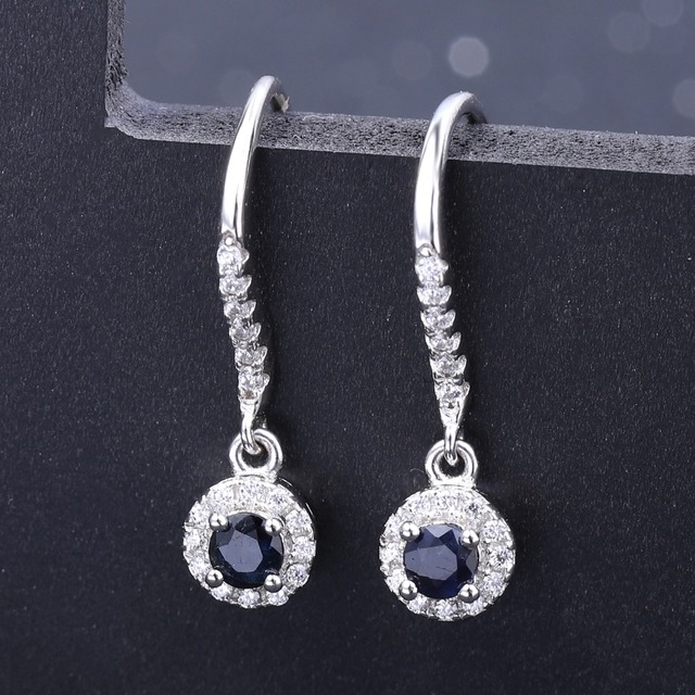 GEM'S BALLET Natural Blue Sapphire Gemstone Drop Earrings Genuine 925 Sterling Silver Fine Jewelry For Women Wedding