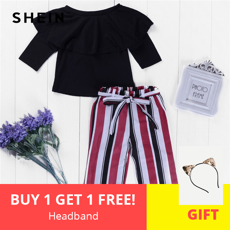 SHEIN Kiddie Toddler Girls Ruffle Blouse With Striped Pants Two Piece Set Kids Clothing 2019 Spring Long Sleeve Children Clothes luoyamy girls classical striped 3pcs set kids autumn cotton school suit baby tracksuit children s vest pants shirt clothes sets