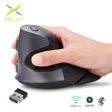 Delux m618gx mouse óptico vertical, rato ergonômico sem fio 6 botões 1600dpi com 3 cores caixa de borracha de silicone para pc laptop portátil