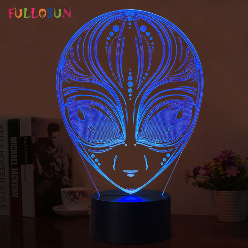 Alien 3D LED Kids Lamp 7 Colors Flashing 3D Night Lights Creative Gift USB LED Table Lamp as Bedroom Decorative Lamp 3d led lamp usb night love heart
