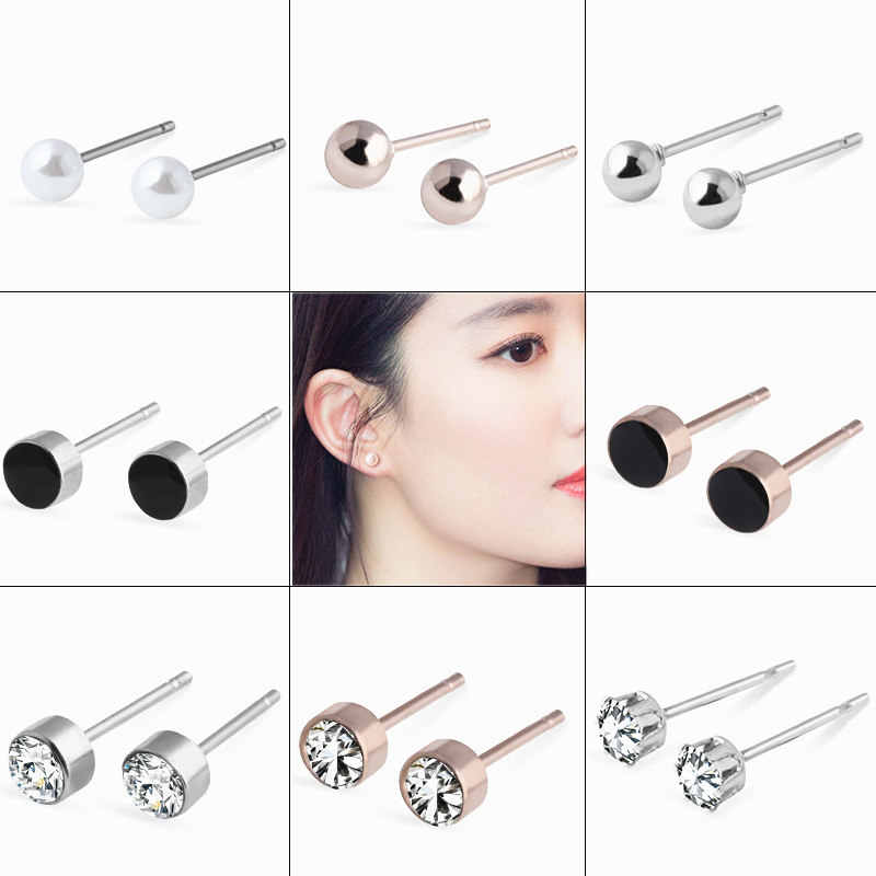 2018 Hot Fashion Stainless Steel Geometric Round Silver Stud Earrings for Women Girls Simulated Pearl Earrings Jewelry Wholesale