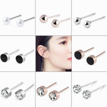 2018 Hot Fashion Stainless Steel Geometric Round Silver Stud Earrings for Women Girls Simulated Pearl Earrings Jewelry Wholesale(China)