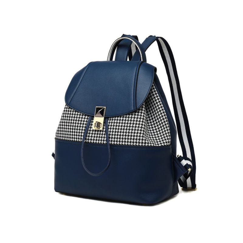 LOEIL Leather female bag female bag contrast color stitching backpack light and simple practical female backpack колье silver wings 05fyn0632 3c 113