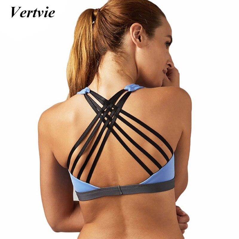 все цены на Vertvie Sexy Cross Sport Bra Women Running Fitness Yoga Bra Bandage Gym Jogging Top Wear Summer Push Up Yoga Bra Sportswear