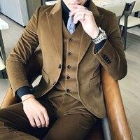 Коричневый, зеленый вельветовый костюм, приталенный, Vestito Uomo, для курения, британский Terno Masculino Trajes Hombres