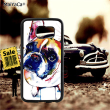 boston terrier dog animal  soft TPU edge cell phone cases for samsung s6 plus s7 s8 s9 lite e note8 note9 cover