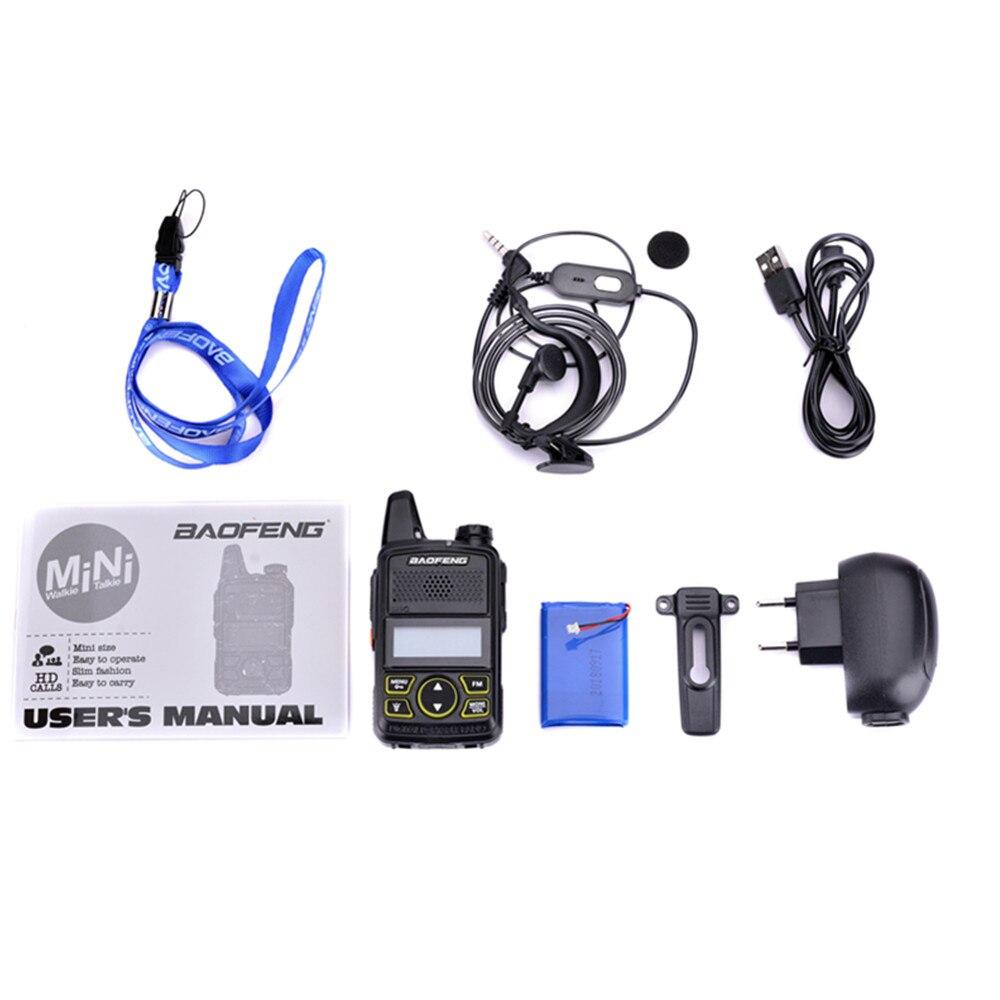100% Original BAOFENG BF-T1 MINI Walkie Talkie UHF 400-470MHz Portable T1 Two Way Radio Ham Radio Amador Micro USB Interphone