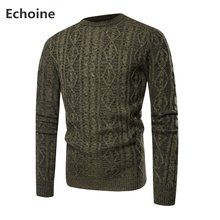 цена на Male Sweater Pullover Slim Fit Warm Solid High Lapel Jacquard Hedging British Men's Clothing Mens Casual O-neck Knitting Sweater