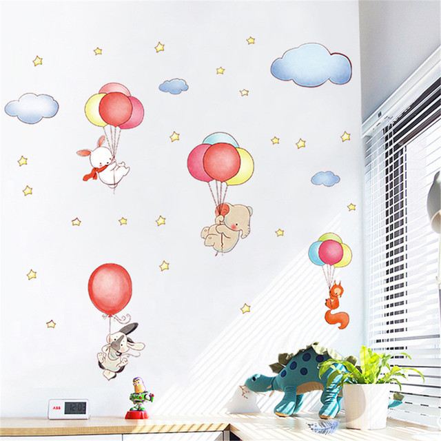 Diy wall stickers rabbit squirrel elephant balloon print removable waterproof wall decal family wallpaper mural art