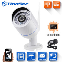 TinoSec 720P Home Security Wireless Metal IP Camera Wifi Outdoor Bullet IR P2P With IR-Cut Filter 1.0MP Camera with TF Card Slot