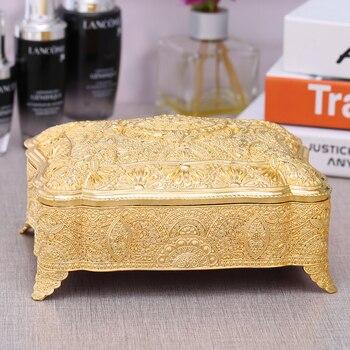 Европейский античный металлический ящик для ювелирных изделий из олова, хлопковый тампон, держатель для хранения косметики, органайзер для...