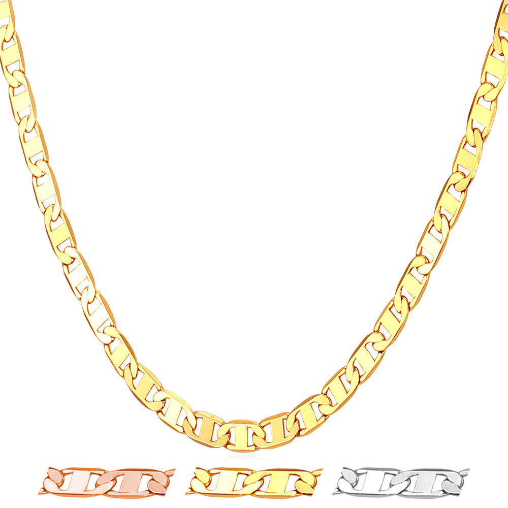 larger link eye plated chains necklace gold jewelry solid mens yellow cuban l men tiger chain view