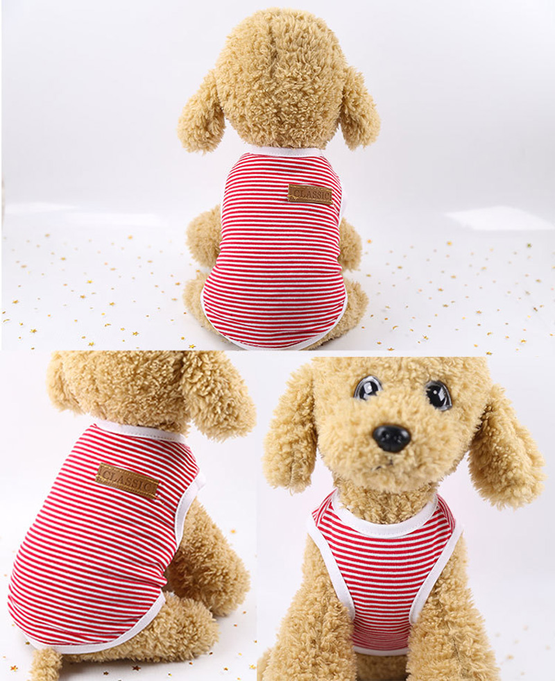 Pets Dog Clothing Spring/Summer Pet Cat Clothes for Cats Kitty Kitten Classic Striped Vest T-shirt Fashion Cotton Cats Shirts 8