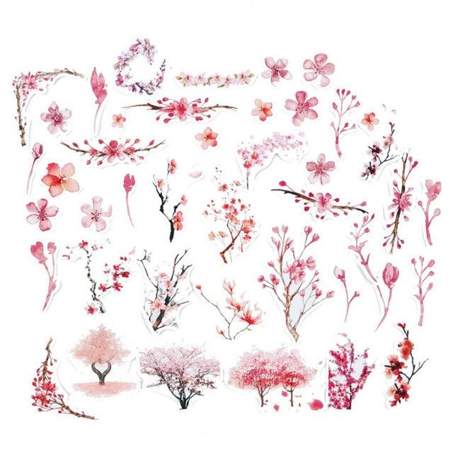 44 pz borsa Rosa fiore adesivo adesivo di carta per bambini fai da te Regalo d918397744ed