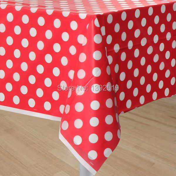 Free Shipping 10pcs Red Table Cover Plastic Polka Dot Table Cloth 108x180cm  6 Colors To Choose