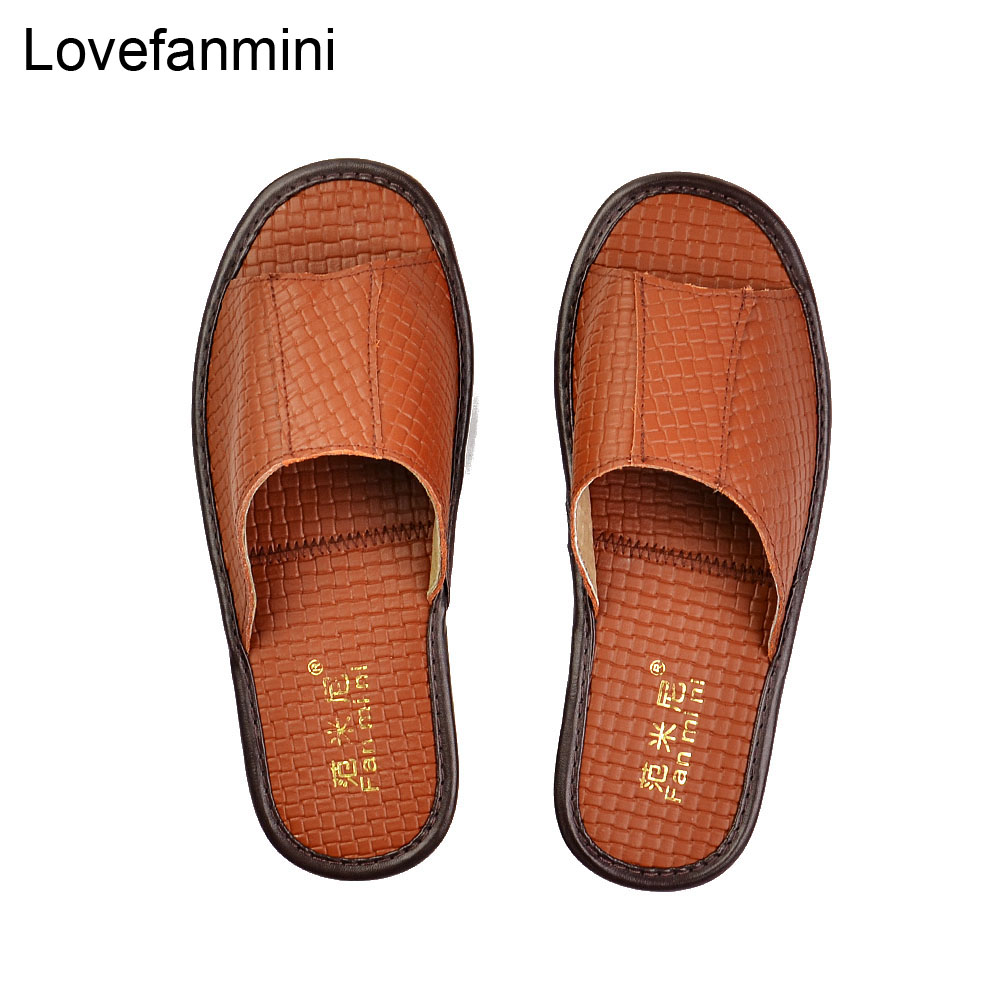 Genuine Cow Leather Slippers Couple Indoor Non-slip Men Women Home Fashion Casual Single Shoes TPR Soft Soles Spring Summer 513m