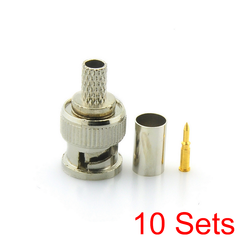 цена на 10x BNC Male 3 in 1 Crimp Connector for RG59 Coaxial Cable Coupler Adaptor