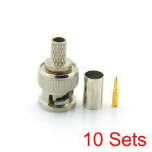 10x BNC Male 3 in 1 Crimp Connector for RG59 Coaxial Cable Coupler Adaptor