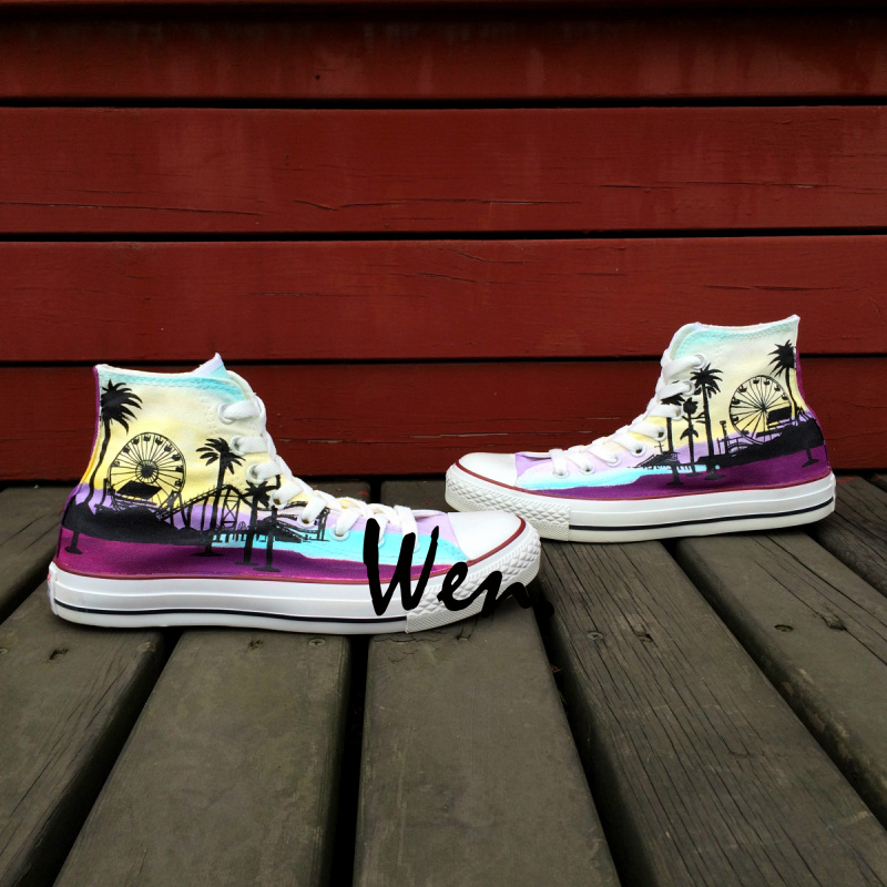 ФОТО Wen Hand Painted Canvas Sneakers Original Design Custom Seaside Coconut Tree High Top Men Women's Canvas Sneakers