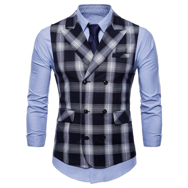 Double Breasted Vest Suit Men 2019 New Arrival High-quality Men's Casual Plaid Waistcoat Double Breasted Vest 4