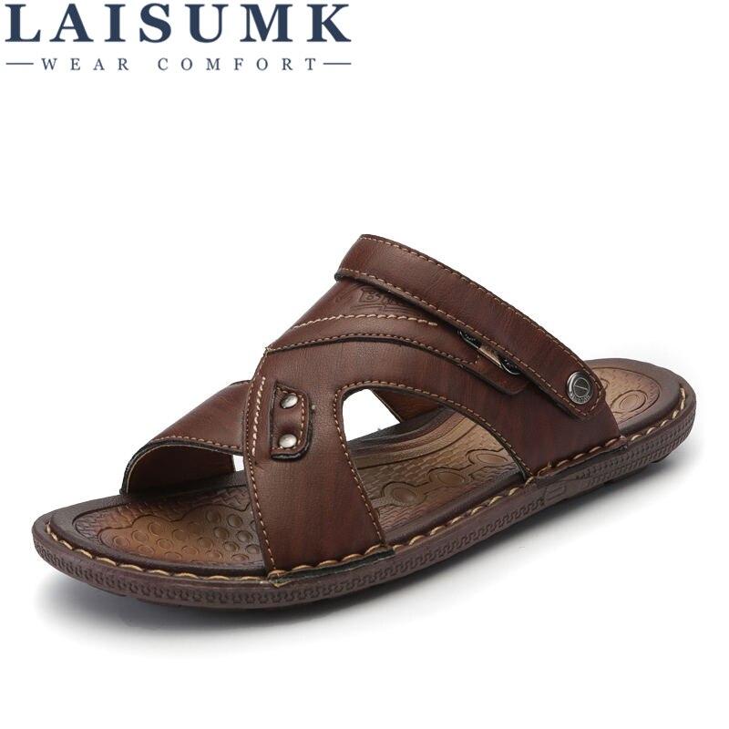 LAISUMK Classics Summer Shoes Men Slippers Quality Split Leather Sandals For Men Comfortable Flip Flops Men Beach Sandals