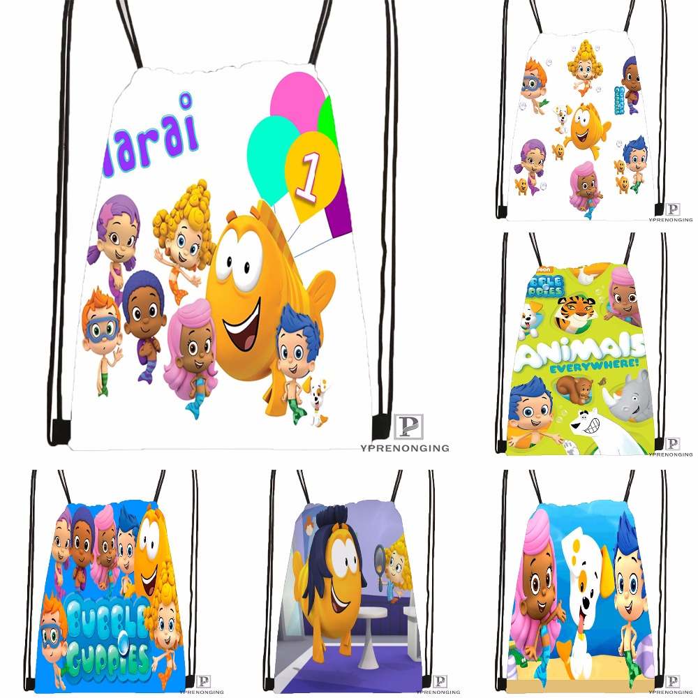 Custom Bubble Guppies #2 Drawstring Backpack Bag Cute Daypack Kids Satchel (Black Back) 31x40cm#180531-02-43