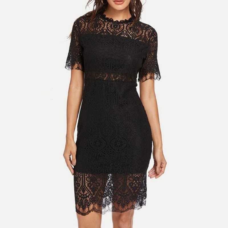 Deuxtwinstyle Sexy dentelle robes pour femmes à manches courtes taille haute évider moulante robe de soirée femme 2019 été mode