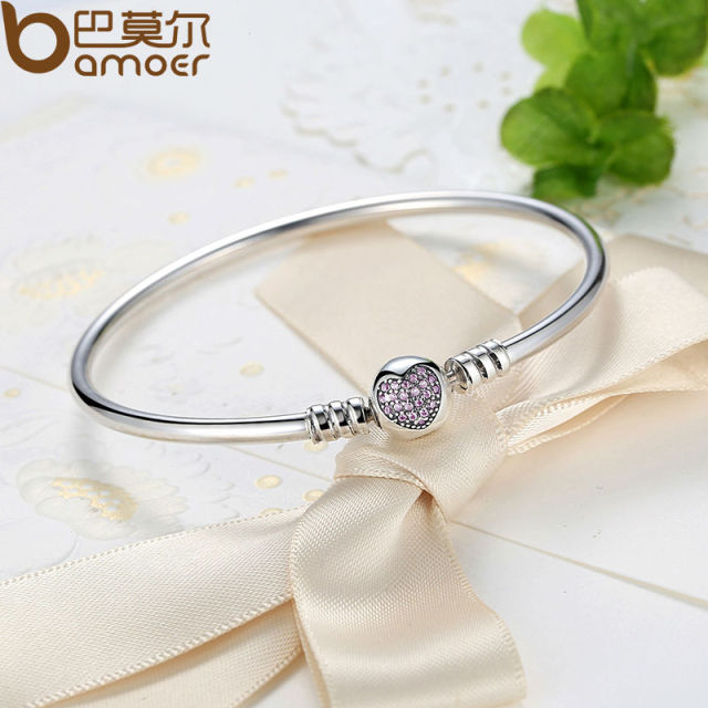 Sterling Silver Snake Chain Heart Bangle