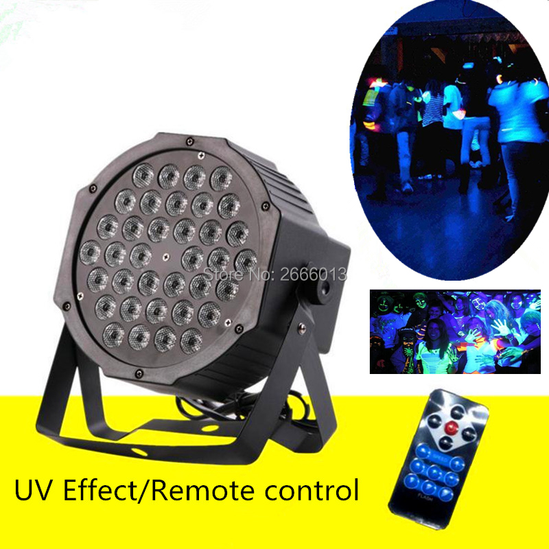 With Remote control 36 LEDS UV LED stage lights Ultraviolet LED Flat par light purple effect disco dj home party lighting lamp 36w uv led stage light black light par light ultraviolet led spotligh lamp with dmx512 for disco dj club show party decoration