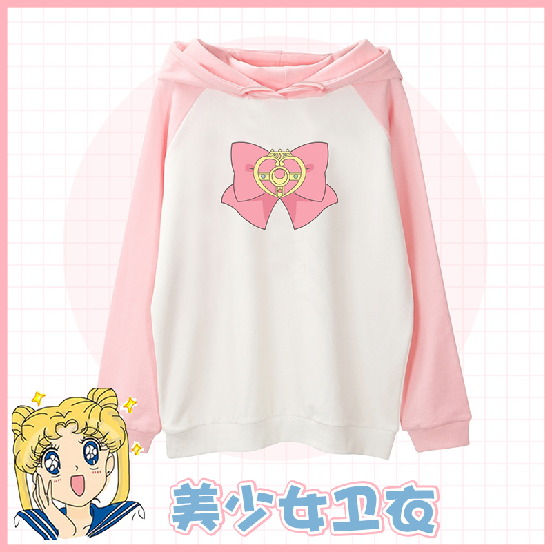 Anime Sailor Moon Crystal Tsukino Usagi Crystal Cute Bow Cosplay Costume Spring Autumn Sweatshirt Hoodie Women