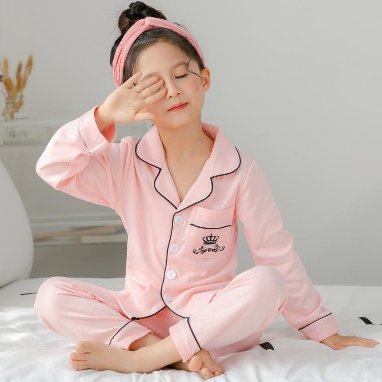 2-12 Home Fruit Pattern Big Girls Children's Pajamas Silk Cotton Long Sleeve Thsirt + Pants Sets For Child Pajamas High Quality