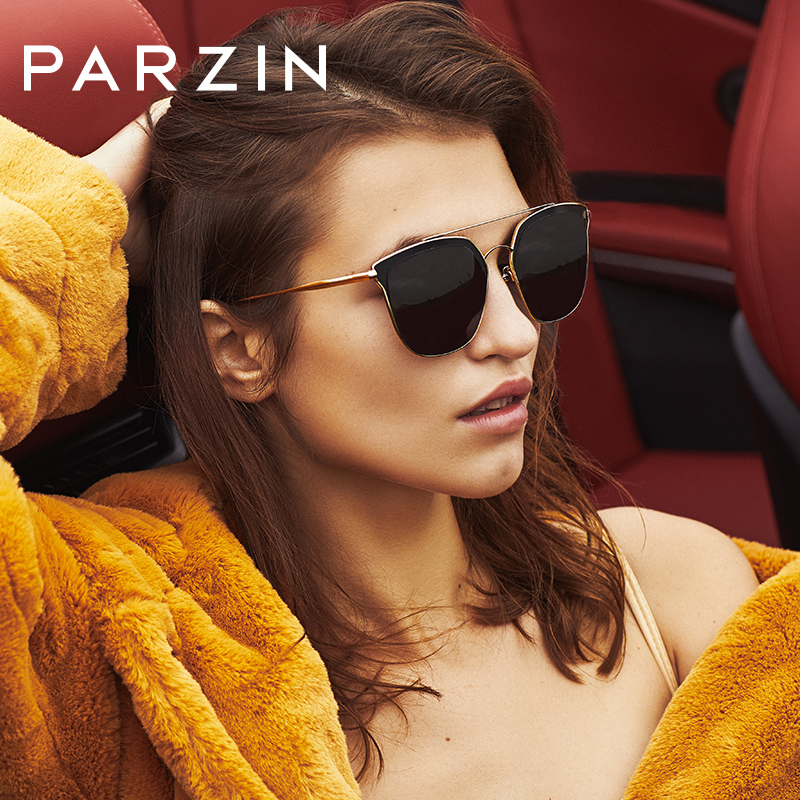 PARZIN Fashion Women Sunglasses Pink Top Quality Coating Mirror Oversized Sunglasses for Female Trendy Lentes De