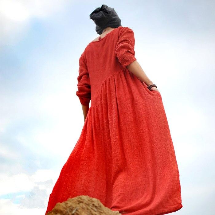 Detail Feedback Questions about 2018 Autumn Dress Women Casual Loose  Vestidos Boho Cotton Linen Long Maxi dresses Vintage Muslim Dresses Plus  Size S 5xl 6XL ... e08eee56fdea