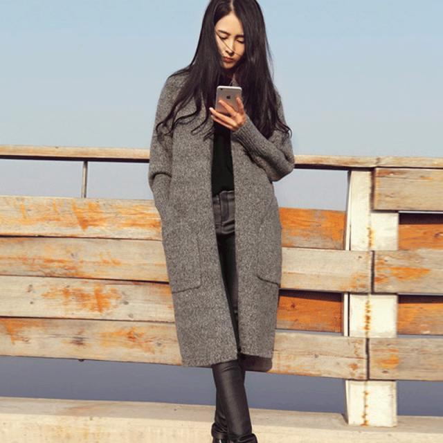 Spring autumn woman vintage loose oversize cocoon maxi sweater ...
