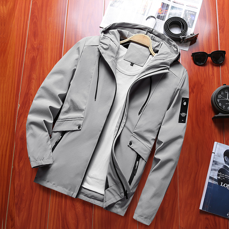 Dropshipping Spring Men's Windebreaker Trench Bomber Jacket Male Casual Streetwear