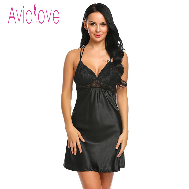 9dfdb1097 Aliexpress.com   Buy Avidlove Sexy Silk Satin Nightdress Women Sleeveless  Nighties V neck Nightgown Plus Size Nightdress Lace Sleepwear Nightwear  from ...