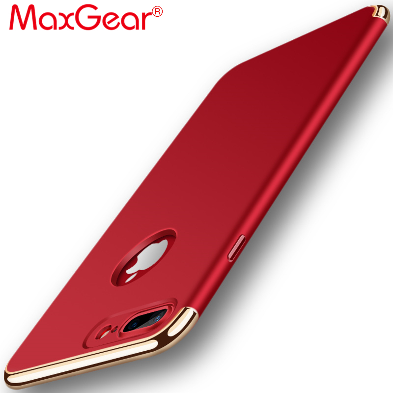 MaxGear High Quality Luxury Red Ultra Thin Shockproof Armor Phone Cover Case For iPhone 6s 7 7 plus 3 in 1 Full Protective case