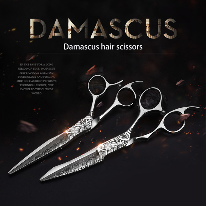Smith Chu 6 Inch Damacus Hairdressing Scissors 440C Stainless Steel Professional Salon Barbers Cutting Scissor Hair Scissors Set 6 inch salon hair scissors styling tool stainless steel hairdressing shears cutting thinning scissor