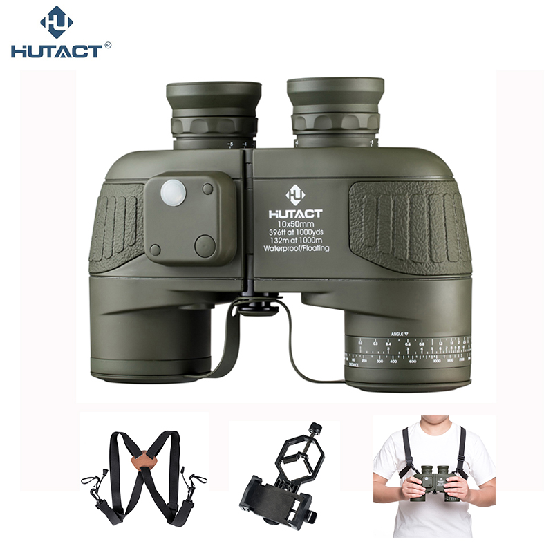 HUTACT 10x50 Binoculars For Hunting Telescope Waterproof Handheld Binocular Outdoor Marine BAK4 Nitrogen Filled Porro Optical