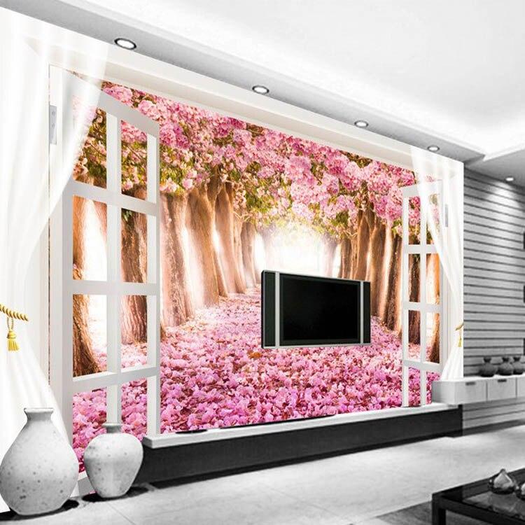 Modern wallpaper pink colour flower 3d landscape wallpaper customize ...