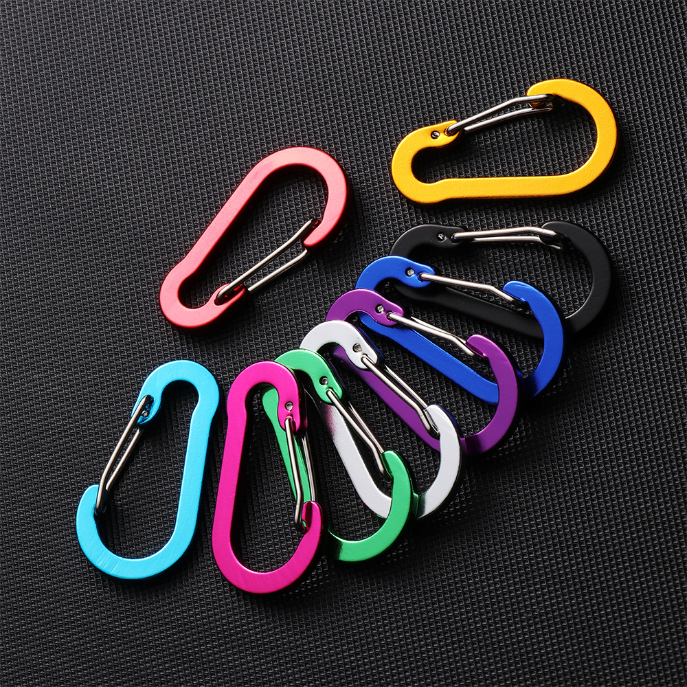 5PCs Aluminum Alloy Carabiner Camping Safety Buckle Climbing Button Booms Fishing Hook Snap Clip Backpack Keychain Outdoor Tools