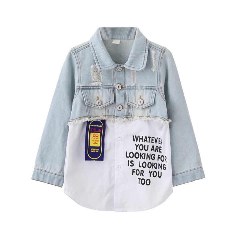 Пальто для девочек осенне-Весенняя коллекция 2019 года, Корейская версия ковбойской одежды детская одежда Весенняя Новая модная короткая одежда