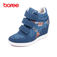 Women S Fashion Height Increasing Casual Shoes Breathable Suede Fabric Hook Loop Classics High Top Mujer